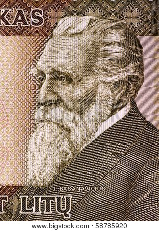 LITHUANIA - CIRCA 2003: Jonas Basanaviciuson (1851-1927) on 50 Litu 2003 Banknote from Lithuania.  Activist and proponent of Lithuania's National Revival.
