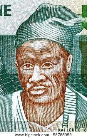 SIERRA LEONE - CIRCA 2003: Kai Londo (1845-1896) on 500 Leones 2003 Banknote from Sierra Leone. Kissi warrior from Sierra Leone who conquered a large territory.