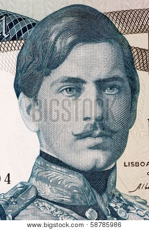 PORTUGAL - CIRCA 1968: Pedro V (1837-1861) on 1000 Escudos 1968 Banknote from Portugal. King of Portugal during 1853-1861.