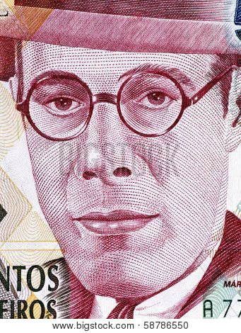 BRAZIL - CIRCA 1993: Mario de Andrade (1893-1945) on 500000 Cruzeiros 1993 Banknote from Brazil. Brazilian poet, novelist, musicologist, art historian and critic, and photographer.