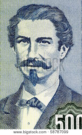 BOLIVIA - CIRCA 1981: Eduardo Abaroa (1838-1879) on 500 Pesos Bolivianos 1981 Banknote from Bolivia. Bolivia's foremost hero of the War of the Pacific.