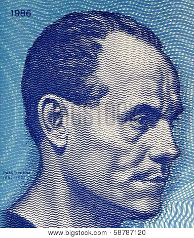 FINLAND - CIRCA 1986: Paavo Nurmi (1897-1973) on 10 Markkaa 1986 Banknote from Finland. Finnish middle and long distance runner.