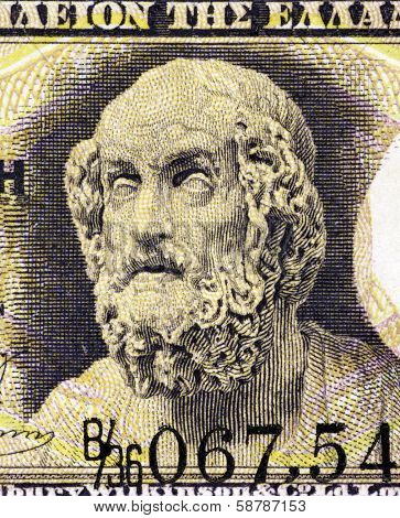 GREECE - CIRCA 1917: Homer on 1 Drachma 1917 Banknote from Greece. Author of the Iliad and the Odyssey, considered as the greatest of ancient Greek epic poets.