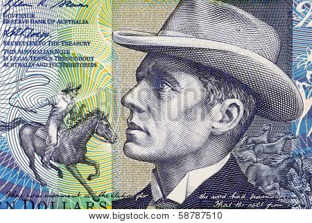 AUSTRALIA - CIRCA 2007: Banjo Paterson (1864-1941) on 10 Dollars 2007 Banknote from Australia. Australian bush poet, journalist and author.