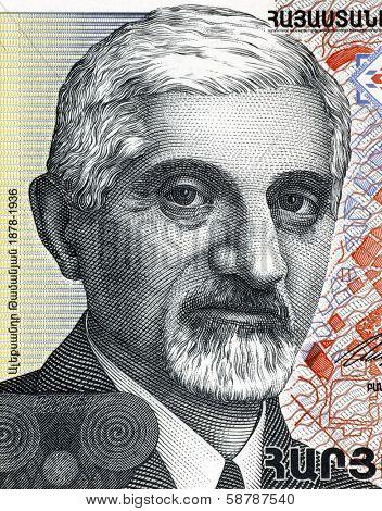 ARMENIA - CIRCA 1999: Alexander Tamanian (1878-1936) on 500 Dram 1999 from Armenia. Russian-born Armenian neoclassical architect.