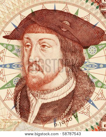 PORTUGAL - CIRCA 1966: John II (1455-1495) on 500 Escudos 1966 Banknote from Portugal. King of Portugal and the Algarves during 1477/1481-1495.