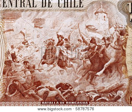 CHILE - CIRCA 1970: Battle of Rancagua on 10000 Escudos 1970 from Chile.