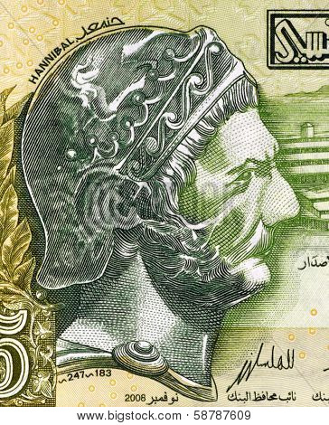 TUNISIA - CIRCA 2008: Hannibal (247-182 BC) on 5 Dinars 2008 Banknote from Tunisia. Punic Carthaginian military commander. One of the greatest military commanders in history.
