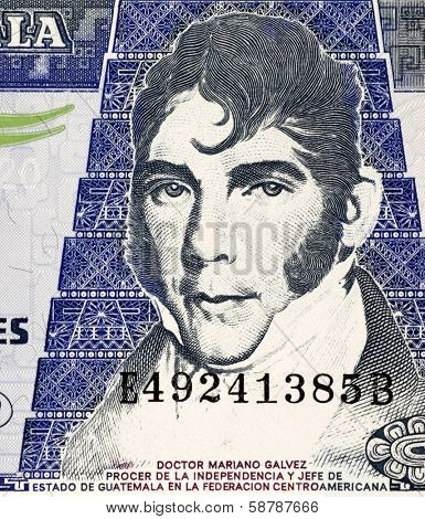 GUATEMALA - CIRCA 2007: Mariano Galvez (1794-1862) on 20 Quetzales 2007 Banknote from Guatemala. Jurist and Liberal politician in Guatemala.