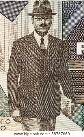 PORTUGAL - CIRCA 1985: Antonio Sergio (1883-1969) on 5000 Escudos 1985 Banknote from Portugal. Portuguese educationist, philosopher, journalist, sociologist and essayist.