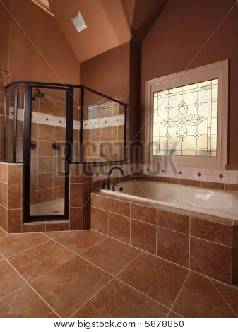 Luxury Home Tile Bathroom With Stained Glass Window