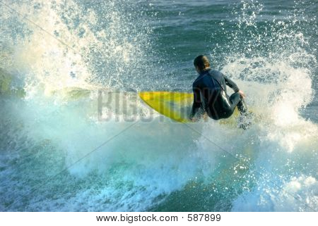 Yellow Surfboard, Blue Waters