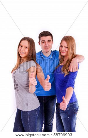 Three Friends Show A Thumbs Up Sign On White Background