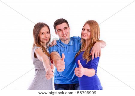 Three Friends Showins Thumbs Up Sign On White Background