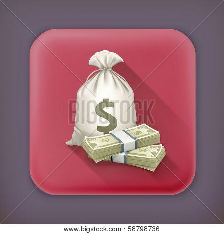 Sack and money, long shadow vector icon