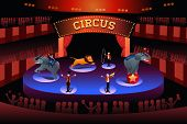 A vector illustration of circus performance show poster