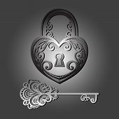 Vector Vintage Lock with a Key. Patterned Design poster