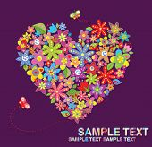 Postcard with floral heart shape poster