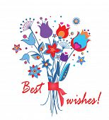 Abstract greeting bouquet poster