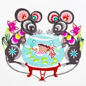These paper cutting show that Chinese Zodiac, such as rat, ox, tiger. poster