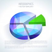 Editable business info graphic pie diagram graph chart with colorful bright triangle pattern poster