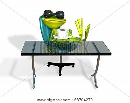 Frog At A Table With Coffee