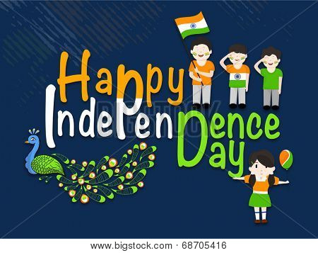 Stylish colorful text Happy Independence Day celebrations with cute little boys, girl and national bird peacock on blue background.