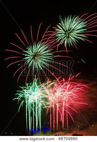 Firework In Red And Green