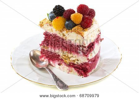 Summer dessert with berries on a white background. poster