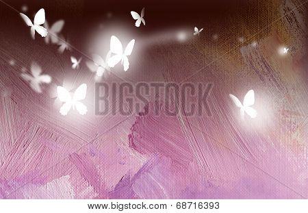 Glowing butterflies in free flight