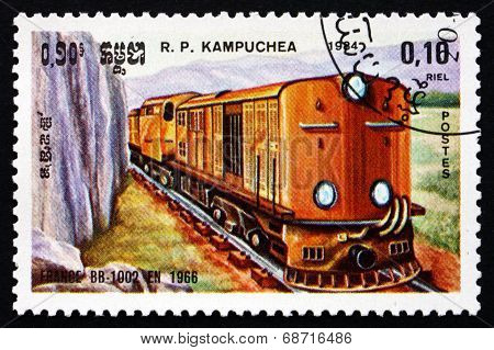 Postage Stamp Cambodia 1984 Locomotive Bb-1002, France