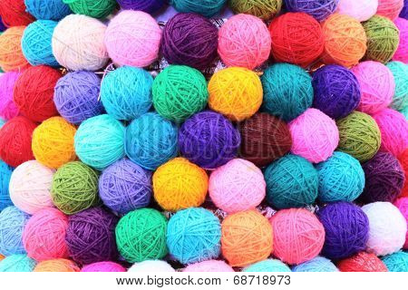 colored balls of yarn thread