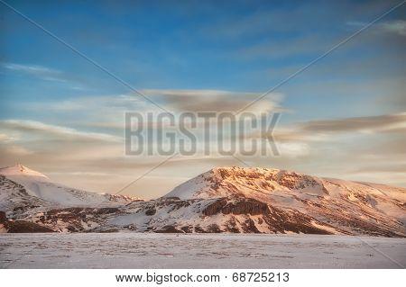 Snowy Iceland Landscape
