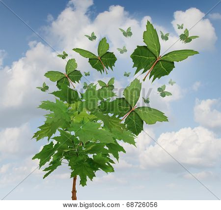 Nature freedom symbol as a growing tree with green leaves transforming into flying butterfly shapes as a metaphor for business exports and distribution or hope in the future for sustainable development of the environment. poster