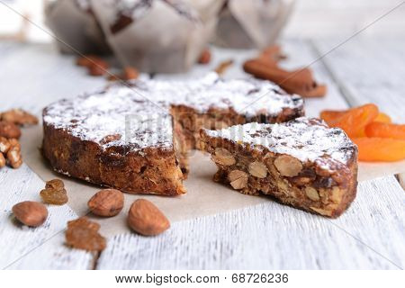 Delicious cake panforte on table close-up