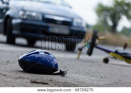 Driver hitting biker on the street horizontal poster