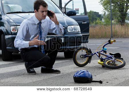 Calling For Help After Hitting Biker