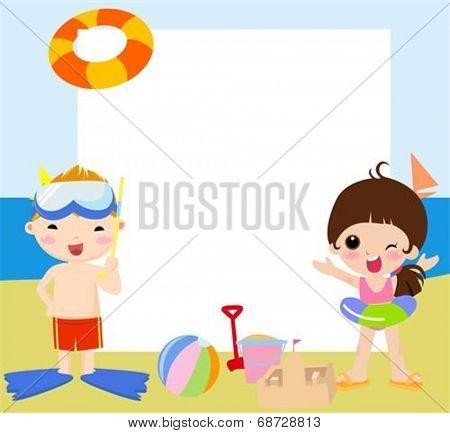 Summer children and frame
