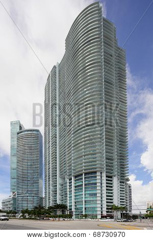MIAMI - JULY 15: Stock image of highrise architecture at Downtown Miami including the Marina Blue, Marquis, Ten Museum Park and 900 Biscayne Condo poster
