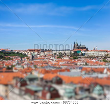 View of Stare Mesto (Old City) and and St. Vitus Cathedral from Town Hall with tilt shift toy effect shallow depth of field. Prague, Czech Republic