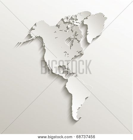 America map continent card paper 3D raster