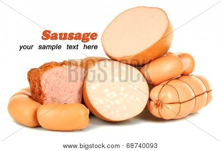 Lot of different sausages isolated on white poster