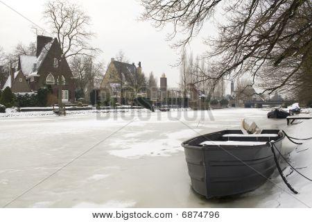 Winter Scene In Villa District In Amsterdam