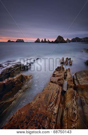 Gueirua beach at sunset. Asturias, Spain.