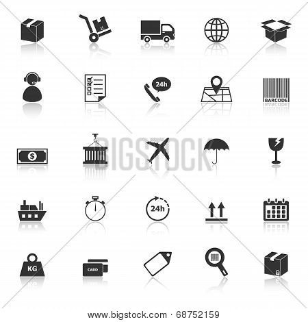 Logistics Icons With Reflect On White Background