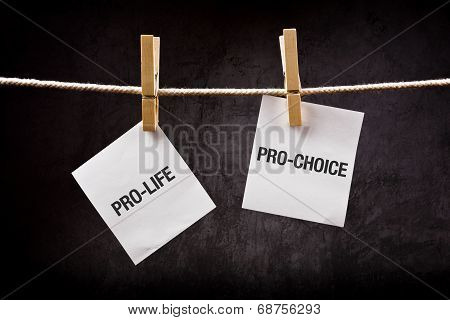 Pro-life vs pro-choice female right on abortion concept poster