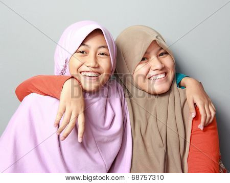 Two Young Muslim Girl Best Friend