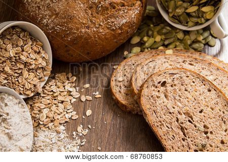 Bread with pumpkin seeds, flax and sesame seeds.