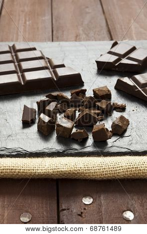 Pieces Of Chocolate On Slate Plate
