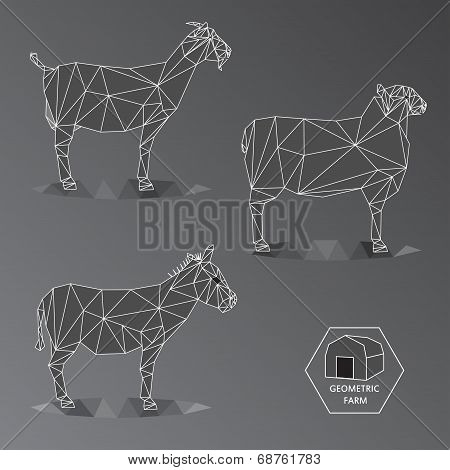Gray Scale Geometric Illustration Of Medium Farm Animals - Triangle Polygons Outline